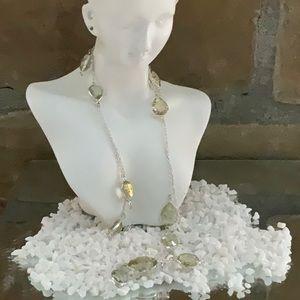 Silver Long Rutilated Quartz Necklace